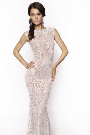 Photo for Beautiful elegant brunette woman wearing lace dress isolated on white background - Royalty Free Image