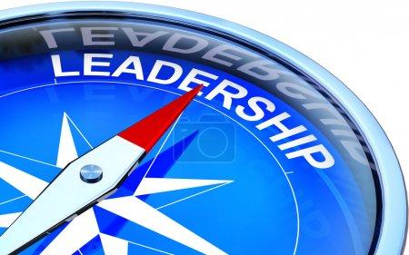 Photo pour Illustration 3D d'une boussole avec une icône de leadership - image libre de droit