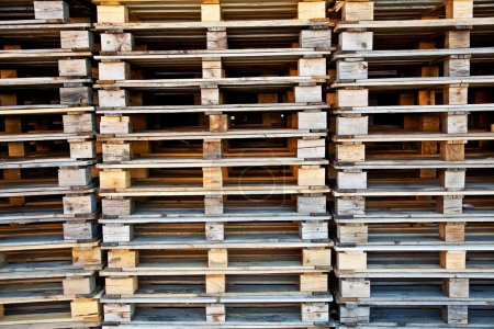 Piles of wooden pallets.