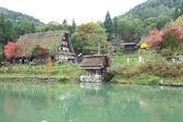 Podzimní barevné stromy v hida lidových vesnice takayama Japonsko