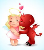 Little Demon Kisses an angel
