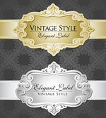 Two vintage metallic labels silver and gold