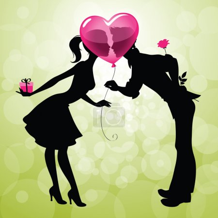Illustration for Illustration of a cute couple kissing behind heart-shaped balloon - Royalty Free Image