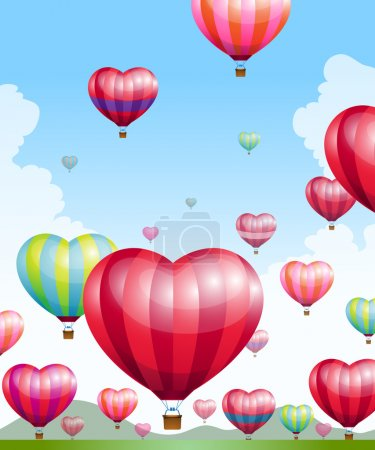 Illustration for Heart shaped hot air balloons taking off - Royalty Free Image