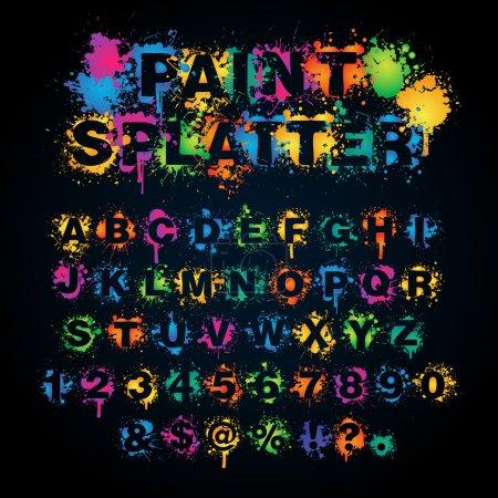 Colorful paint splatter alphabet