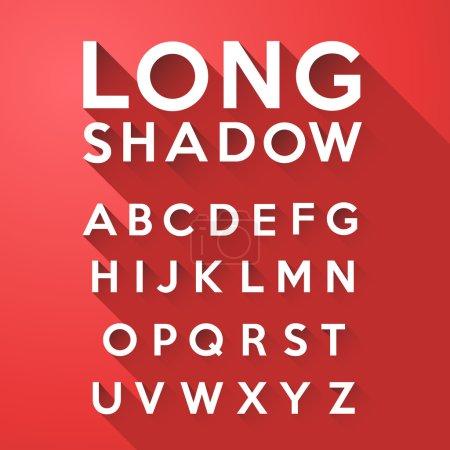 Illustration pour Ensemble vectoriel de long alphabet d'ombre plate sur fond rouge - image libre de droit