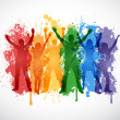 Colorful silhouettes of young people chearing in support of LGBT rights