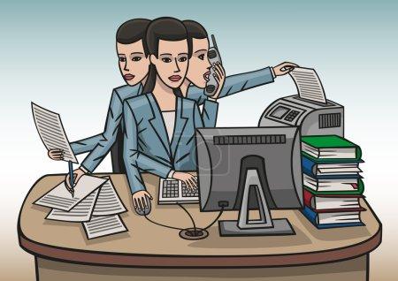 Illustration pour Une fille au bureau travaille dur à son bureau. - image libre de droit
