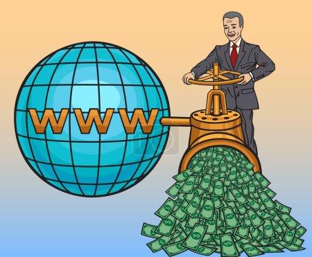 Illustration pour Internet vous permet de gagner de l'argent du monde entier - image libre de droit