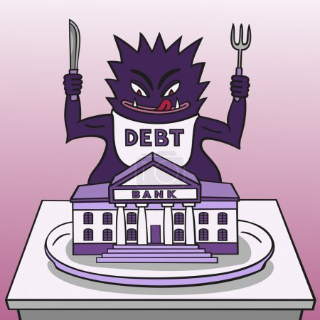 Illustration for Debt is a monster devouring the banking system. - Royalty Free Image