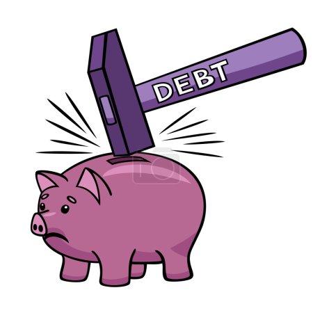 Illustration pour Une dette importante peut détruire toutes les économies . - image libre de droit