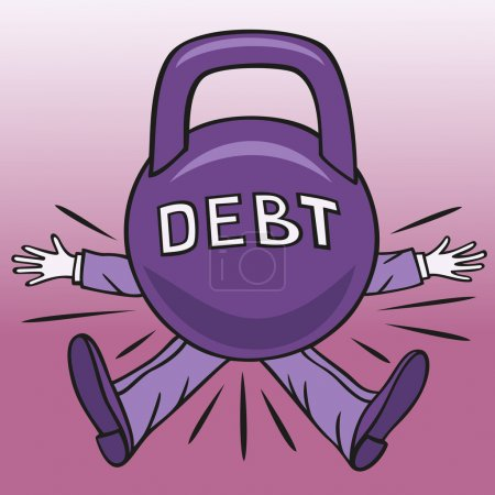 Illustration for Much debt the borrower can crush big load. - Royalty Free Image