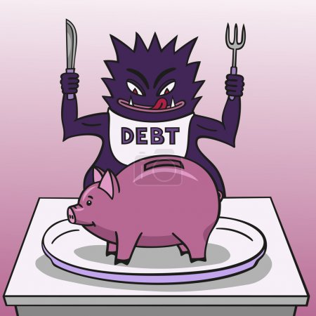 Illustration pour La dette veut engloutir toutes les économies de la tirelire . - image libre de droit