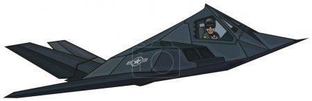 """Cartoon stealth F-117 """"Nighthawk""""."""