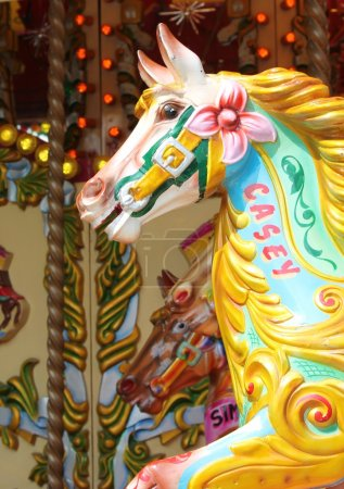 Vintage carousel merry-go-round painted horses
