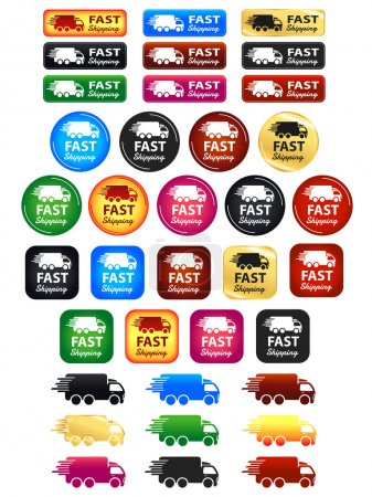 Illustration for Fast Shipping Set of badges and icons in various colors. - Royalty Free Image