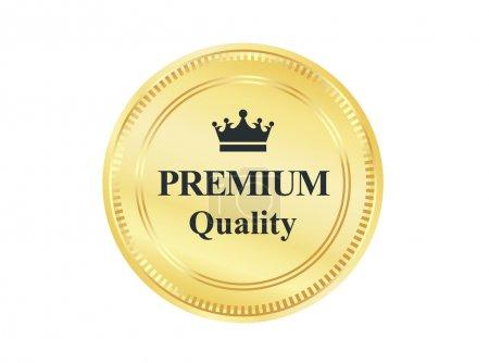 Illustration for Golden Premium high quality full satisfaction guarantee badge. - Royalty Free Image