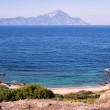 Secluded little beach with a view to the Holy Moun...