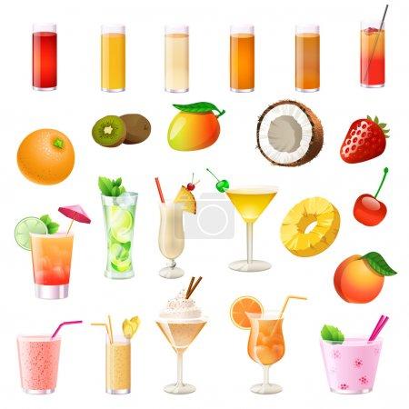 Illustration pour Différents cocktails, boissons, fruits et baies - image libre de droit