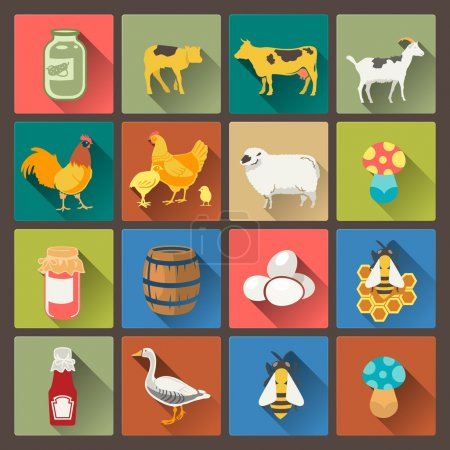 set of sixteen farm icons in flat design style
