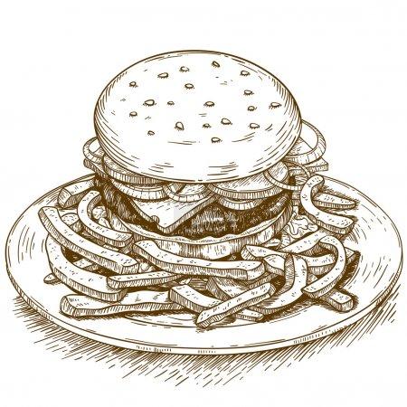 Illustration for Vector engraving illustration of hamburger on white background - Royalty Free Image