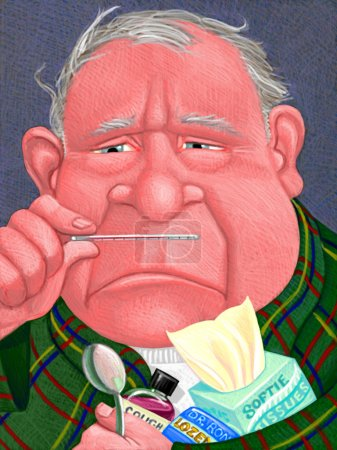 Illustration of Man with Fever