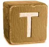 Photograph of Sepia Wooden Block Letter T