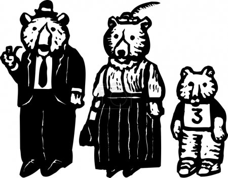Illustration for Woodcut illustration of the 3 Bears - Papa Bear, Mama Bear and Baby Bear - Royalty Free Image