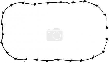 Woodcut Illustration of Barbed Wire