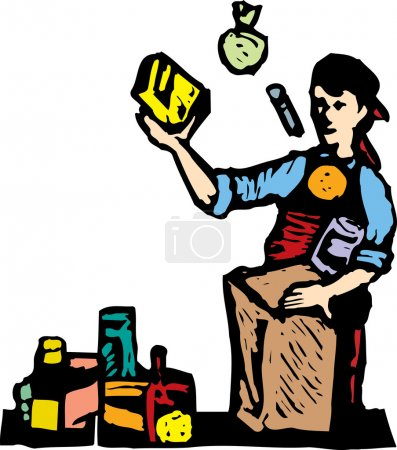 Woodcut illustration of Teen Boy Bagging Groceries
