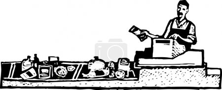 Woodcut Illustration of Grocery Checker