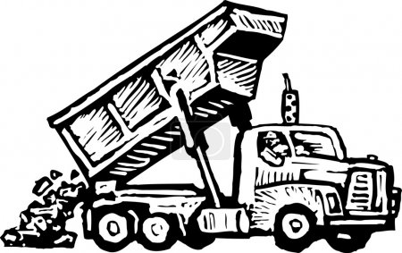 Woodcut Illustration of Dumptruck Dumping Dirt