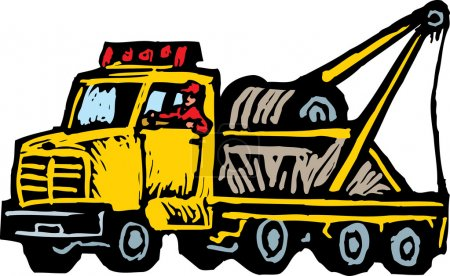 Woodcut Illustration of Tow Truck