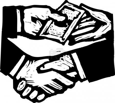 Illustration for Black and white vector Illustration of Bribery Money Changing Hands - Royalty Free Image