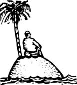 Black and white vector Illustration of Castaway on Island