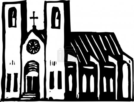 Woodcut Illustration of Church Cathedral
