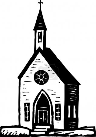 Woodcut Illustration of Church
