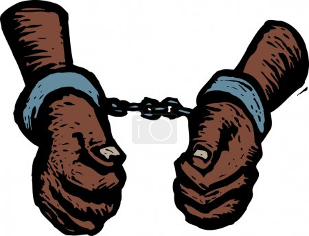 Woodcut Illustration of Handcuffed Criminal or Pri...