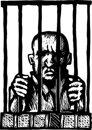 Woodcut Illustration of Prisoner Behind Bars...