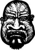 Woodcut Illustration of Criminal Face