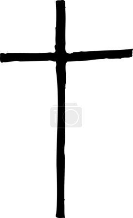 Illustration pour Vecteur noir et blanc Illustration de la Croix chrétienne - image libre de droit