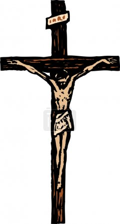 Woodcut Illustration of Crucifix