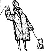 Vector Illustration of Rich Woman in Fur Coat with Small Dog