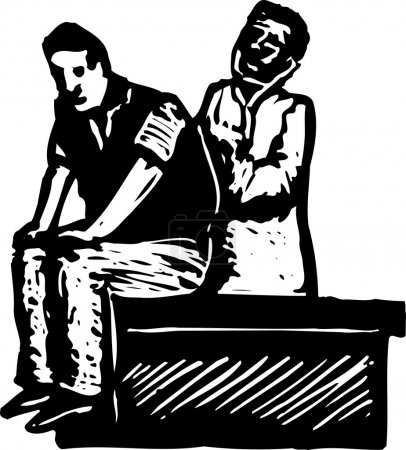 Holzschnitt-Illustration eines Arztes bei der Untersuchung eines Patienten