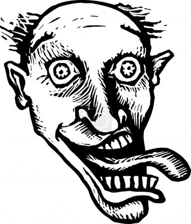 Illustration for Woodcut Illustration of Crazy Maniacal Man with Tongue Out Face - Royalty Free Image