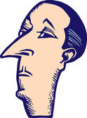 Woodcut Illustration of Snooty Man with Pencil Moustache Face