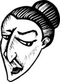 Woodcut Illustration of Irritated Skeptical Woman Face