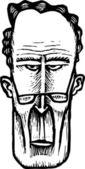 Woodcut Illustration of Uptight Conservative Man Face