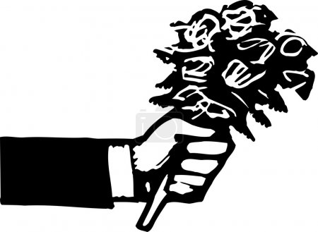 Woodcut Illustration of Hand Holding a Bunch of Flowers