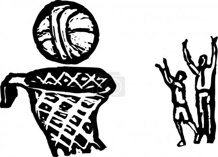 Woodcut illustration of Free Throws